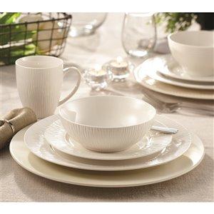 Ensemble de vaisselle en porcelaine Bamboo de Safdie & Co., blanc, 16 pièces