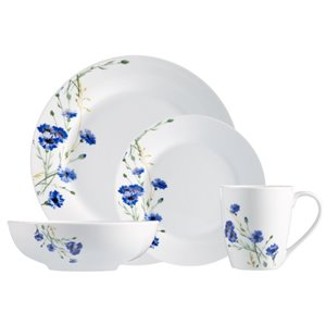 Safdie & Co. Dinnerware Set - Porcelain - White and Blue - 16 -Piece