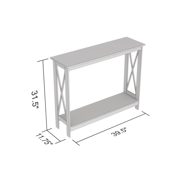 Table console Safdie & Co., 1 tablette, 39,5 po, blanc