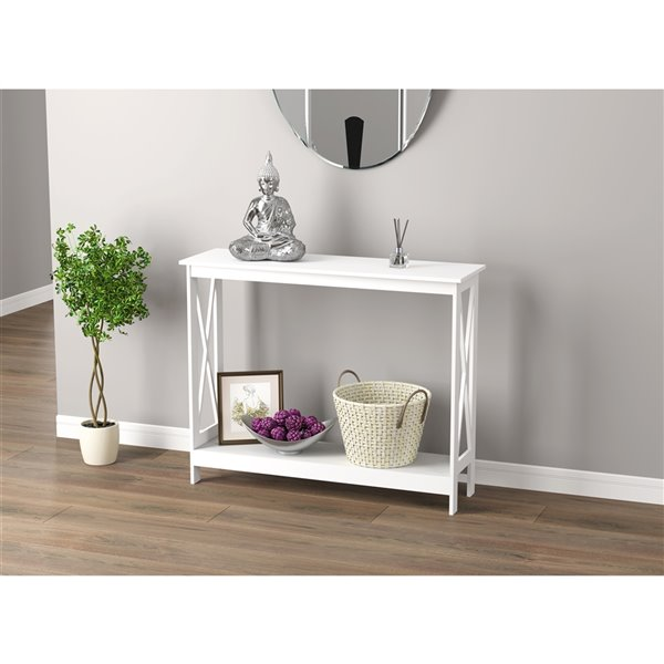 Safdie & Co. Console Table - 1 Shelf - 39.5-in - White