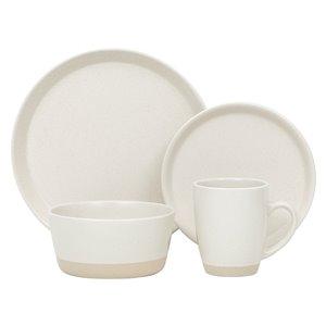 Ensemble de vaisselle en grès de Safdie & Co., crème, 16 pièces