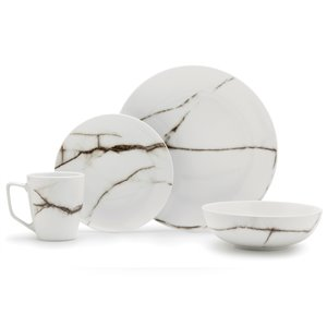 Safdie & Co. Dinnerware Set - Marble Porcelain - White - 16 -Piece