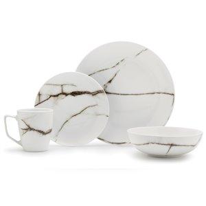 Ensemble de vaisselle en porcelaine de Safdie & Co., blanc marbré, 16 pièces