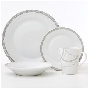 Safdie & Co. Infinity Dinnerware Set - Porcelain - White and Light Grey - 16 -Piece