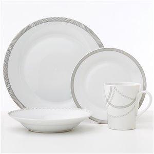Ensemble de vaisselle en porcelaine Infinity de Safdie & Co., blanc et gris pâle, 16 pièces