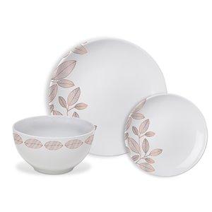 Ensemble de vaisselle en porcelaine de Safdie & Co., feuillage or rose, 12 pièces