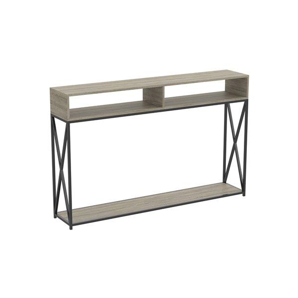 Table console Safdie & Co., 2 tablettes ouvertes, 47,25 po, gris taupe foncé
