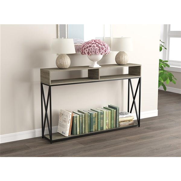 Safdie & Co. Console Table - 2 Open Shelves - 47.25-in - Dark Taupe