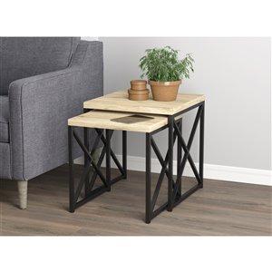 Ensemble de table d'appoint de Safdie & Co., bois recyclé et métal noir, ens. de 2