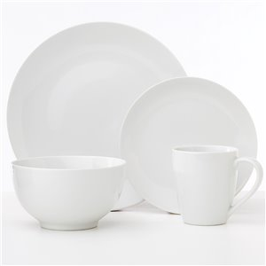 Safdie & Co. Classic Oxford Dinnerware Set - Porcelain - White - 16 -Piece