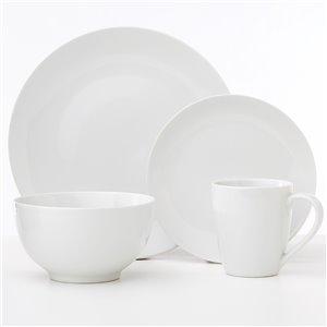 Ensemble de vaisselle en porcelaine Classic Oxford de Safdie & Co., blanc, 16 pièces