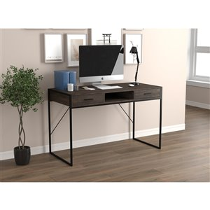 Safdie & Co. Computer Desk - 2 Drawers and 1 Shelf - 48-in - Dark Brown Reclaimed Wood