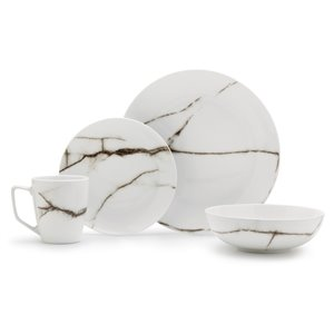 Safdie & Co. Dinnerware Set - Porcelain - Marble White - 16 -Piece