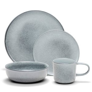 Safdie & Co. Relic Dinnerware Set - Stoneware - Grey - 16 -Piece