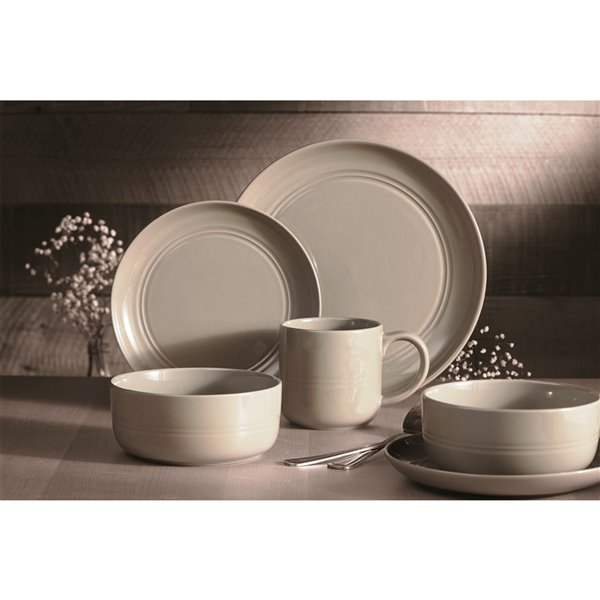 Safdie & Co. Stoneware Ridge Dinnerware Set - Grey - 16 -Piece