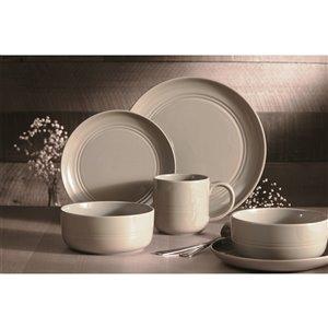 Ensemble de vaisselle en grès Ridge de Safdie & Co., gris, 16 pièces