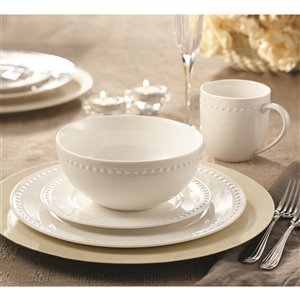 Safdie & Co. Pearl Dinnerware Set - Porcelain - White - 16 -Piece