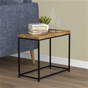 Table d'appoint rectangulaire Safdie & Co., 24 po, bois brun recyclé/métal noir