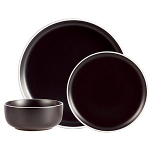Safdie & Co. Dinnerware Set - Stoneware - Black - 12 -Piece