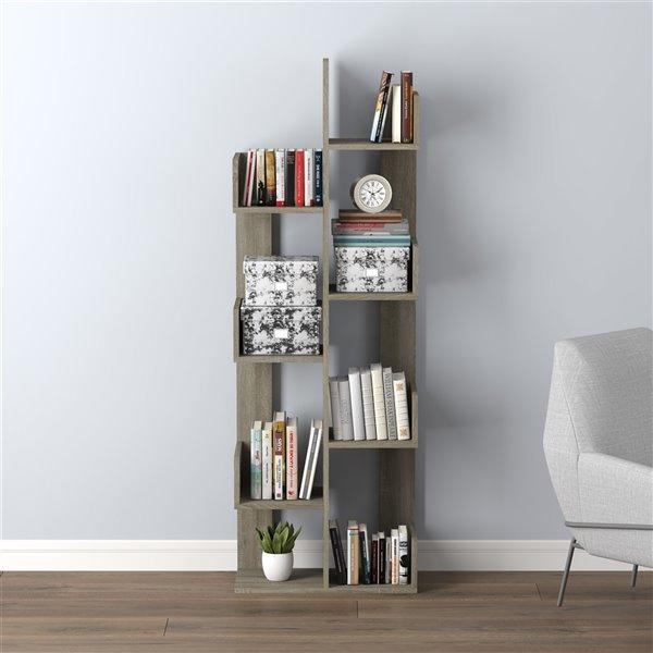 Bibliothèque Safdie & Co., 57 po x 10 po, taupe foncé