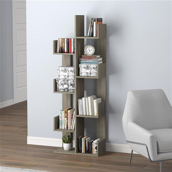 Safdie & Co. Bookcase - 57-in x 10-in - Dark Taupe