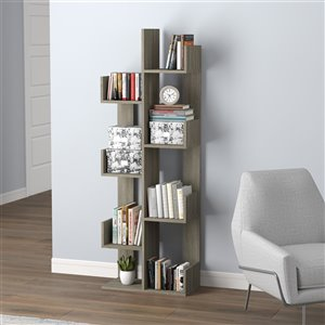 Safdie & Co. Bookcase - 57-in x 10-in - Dark Taupe