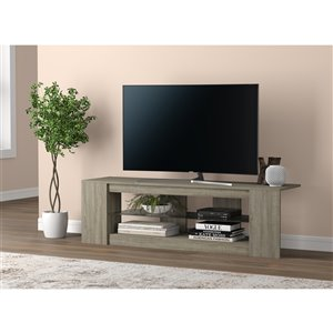 Safdie & Co. TV Stand - 2 Shelves with Tempered Glass - 55-in - Dark Taupe