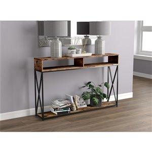 Table console Safdie & Co., 2 tablettes ouvertes, 47,25 po, bois brun recyclé