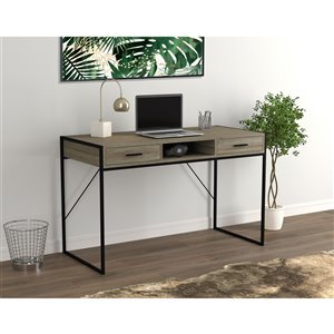 Safdie & Co. Computer Desk - 2 Drawers and 1 Shelf - 48-in - Dark Taupe/Black Metal