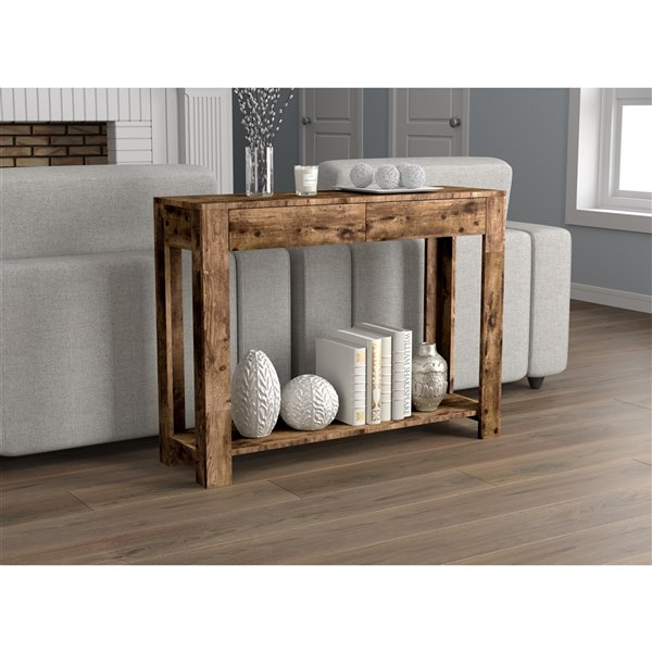 Safdie & Co. Console Table- 2 Drawers and 1 Shelf - 40-in - Brown Reclaimed Wood