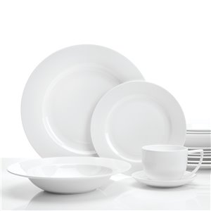 Ensemble de vaisselle en porcelaine Topia Classique de Safdie & Co., blanc, 16 pièces