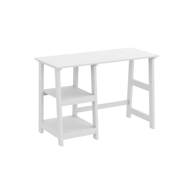 Bureau d'ordinateur Safdie & Co., 2 tablettes ouvertes, 44 po, blanc