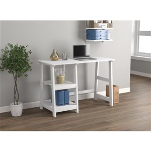 Safdie & Co. Computer Desk - 2 Open Shelves - 44-in - White