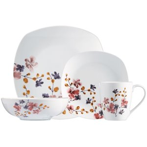 Safdie & Co. Dinnerware Set - Porcelain - White Bloom Pattern - 16 -Piece