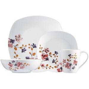 Ensemble de vaisselle en porcelaine de Safdie & Co., motif floral, 16 pièces
