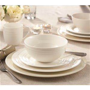 Safdie & Co. Circa Dinnerware Set - Porcelain - White - 16 -Piece