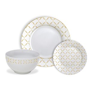 Safdie & Co. Dinnerware Set - Porcelain - Gold Jacquard - 12 -Piece