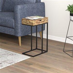 Table d'appoint Safdie & Co., 1 tiroir, 15,75 po, bois brun recyclé