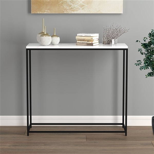 Safdie & Co. Console Table - 31-in - Black/White Marble
