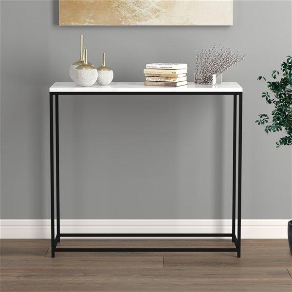 Table console Safdie & Co., 31 po, noir/marbre blanc