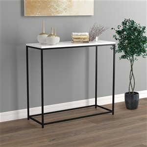 Table console Safdie & Co., 31 po, noir/marbre blanc