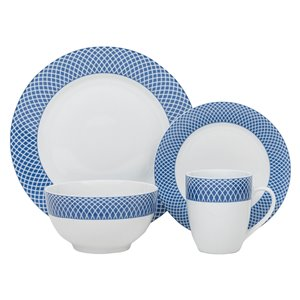 Safdie & Co. Dinnerware Set - Porcelain - Blue and White - 16 -Piece