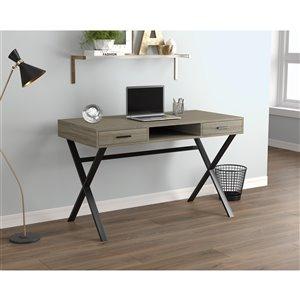 Bureau d'ordinateur Safdie & Co., 2 tiroirs et 1 tablette, 47 po, taupe foncé/métal noir