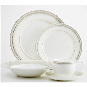 Safdie & Co. Milano Dinnerware Set - Porcelain - Taupe and Gold - 20 -Piece