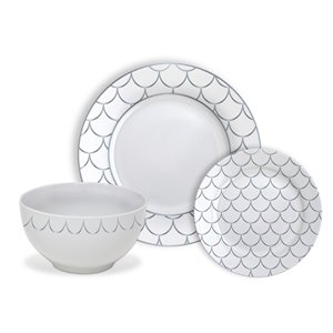Safdie & Co. Dinnerware Set - Porcelain - Silver Scale - 12 -Piece