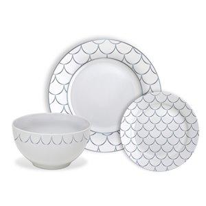 Ensemble de vaisselle en porcelaine de Safdie & Co., écaille argenté, 12 pièces