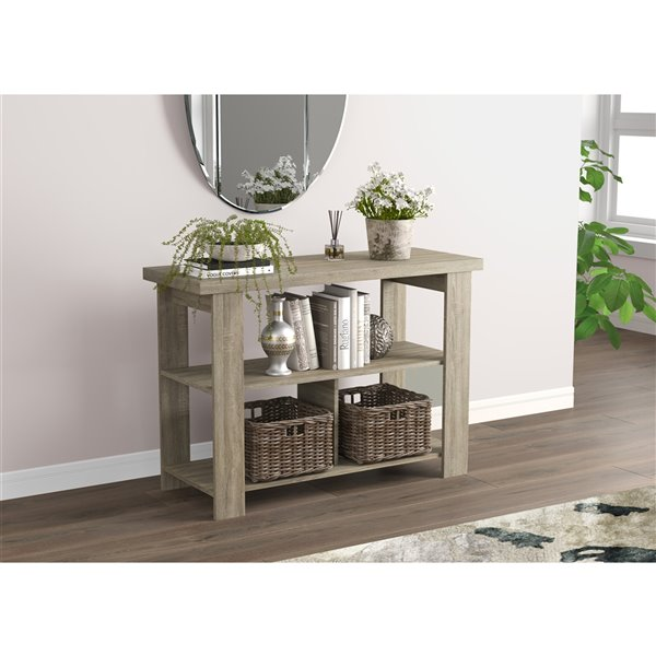 Safdie & Co. Console Table - 3 Shelves - 41.25-in - Dark Taupe