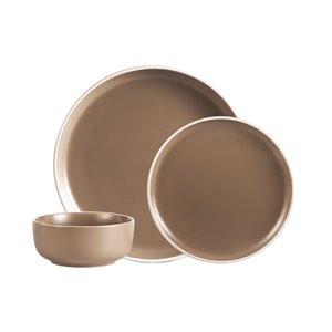 Ensemble de vaisselle en grès de Safdie & Co., beige, 12 pièces