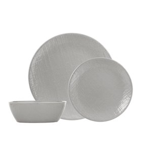Safdie & Co. Dinnerware Set - Stoneware - Grey Linen - 12 -Piece
