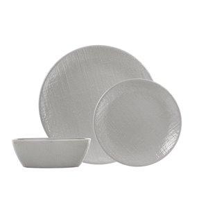 Ensemble de vaisselle en grès de Safdie & Co., lin gris, 12 pièces